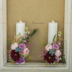 Autumn wedding candles  #flowerdipity #wedding #flowers #candles #dustypink #lila #bordeaux #dahlia #echeveria #peonies #roses Echeveria, Autumn Wedding, Dusty Pink, Dahlia, Pillar Candles, Bordeaux, Peonies, Wedding Flowers, Wedding Decorations