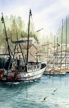 MORRO BAY FISHING Boat Watercolor Painting Art by k9artgallery