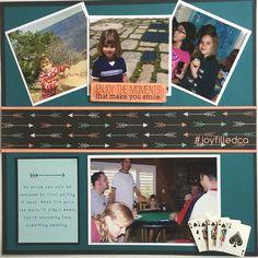 Little girl fun memories. Album by JoyFilled Custom Albums #joyfilledca #scrapbooking #littlegirllayout #arrowlayout. #customscrapook