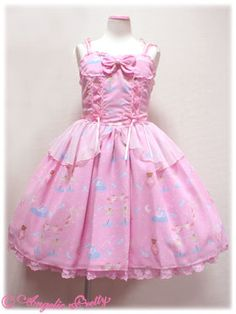 Angelic Pretty Etoile Twins Dress Jumperskirt - Pink $321  Length: About 85cm + Lace: 3cm about  Bust: About 90 ~ 107cm  Waist: About 70 ~ 88cm