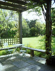 garden: a porch and a big lawn