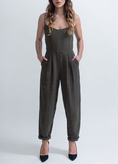Amber Olive Jumpsuit with Spaghetti Straps and Pleated Trouser I Objects Without Meaning