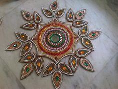Floating/Wooden Rangoli with a twist( using Kundan,zardosi etc . Rangoli Colours, Rangoli Patterns, Rangoli Designs Diwali, Diwali Rangoli, Thali Decoration Ideas, Diwali Decorations, Handmade Decorations, Bees For Kids, Flower Rangoli