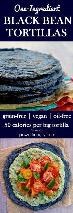 Make your own black bean tortillas, with nothing more than dried #blackbeans (plus water & salt). They are #grainfree #oilfree #vegan #sugarfree #lowcarb only 50 calories per big tortilla, easy-to-make, and, most importantly DELICIOUS! #cleaneats #cleaneating #grainfreebread #grainfreetortillas #highprotein #cheapeats