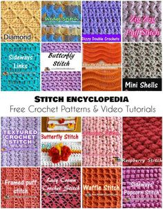 Stitch Encyclopedia [Free Crochet Patterns and Video Tutorials] Almost 100 stitches in one place.Share this: Crochet tutorial that teaches you how to make this beautiful granny ripple stitch. Find more crochet stitches here on the category Crochet St Mode Crochet, Crochet Stitches Free, Stitch Crochet, Crochet Motifs, Tunisian Crochet, Learn To Crochet, Different Crochet Stitches, Points Crochet, Crochet Granny