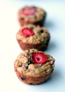 Strawberry + Banana Chocolate Chip Oatmeal Muffins made with greek yogurt & no white sugar