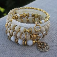 White Dreams II Gold-Plated Memory Wire by BlooMoonJewelry
