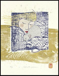 """Girl with possum"" hand-coloured woodcut,  by Ona Henderson ©"