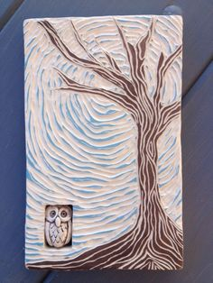 Carved Tree Tile with Owl Bead Sgrafitto. $55.00, via Etsy.