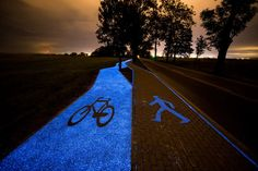 Glowing bike lane, bike lane, bike lane Poland, Poland, TPA Instytut Badań Techniczynch Sp. z o.o., luminophores, phosphor, phosphors, bike, bikes, bicycle, bicycles, biking
