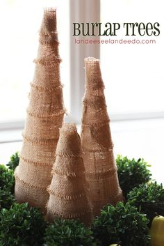 Learn how to make DIY Burlap Christmas Trees in a special guest post from Landee See, Landee Do for the holidays!