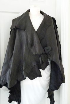 CHOCOLATE LEATHER ASYMMETRIC ZUZA BART ONE OFF LEATHER JACKET OSFA SALE in Clothes, Shoes & Accessories, Women's Clothing, Coats & Jackets | eBay