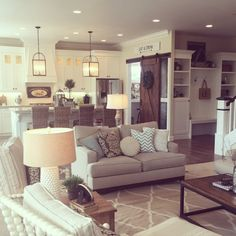 Open floor plan kitchen and family room in neutrals - love the farmhouse style k. - Home Decor Home Living Room, Living Room Decor, Living Spaces, Kitchen Living, Style At Home, Home Decor Inspiration, Decor Ideas, Room Ideas, 31 Ideas
