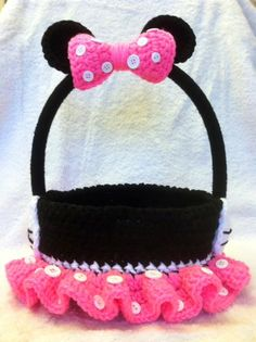 Minnie/Mickey Mouse Easter Basket Crochet Easter by YarnArtista, $35.00