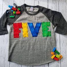 5th Building blocks birthday shirt fifth six 6th birthday