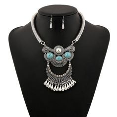 Crystal Turquoise Necklace Earring Set