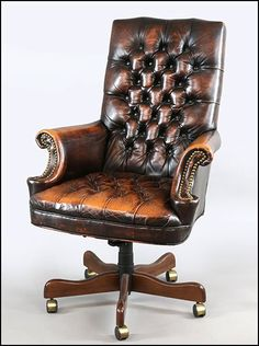 View this item and discover similar for sale at - Handsome leather executive chair with lovely worn patina. Vintage Desk Chair, Office Chairs For Sale, Wooden Dining Room Chairs, Executive Office Chairs, Office Desks, Upholstered Swivel Chairs, Adirondack Chairs For Sale, Small Accent Chairs, Affordable Furniture