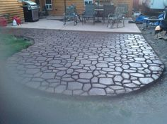 finished patio molded concrete pavers with acid etch staining
