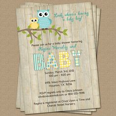 Owl baby shower invitation with wood by freshlysqueezedcards, $13.00