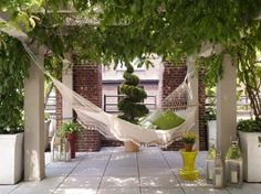 I will build a pergola, and that pergola will have a hammock! I will not rest, until I am in that hammock, resting! Backyard Hammock, Outdoor Hammock, Hammock Ideas, Outdoor Pergola, Pergola Designs, Patio Design, Pergola Ideas, Patio Ideas, Backyard Ideas