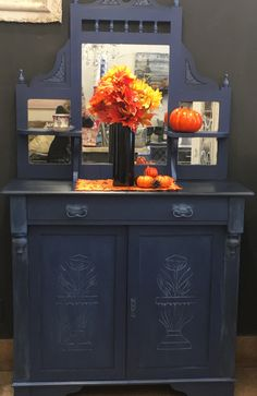Petite buffet hutch painted in napoleonic blue and highlights of Greek blue, with clear black wax chalkpaint by Annie Sloan at B/A Vintage Whitby Napoleonic Blue, Greek Blue, Buffet Hutch, Annie Sloan, Chalk Paint, Liquor Cabinet, Highlights, Wax, Painting