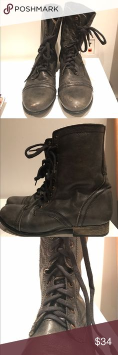 """Steve Madden TROOPA Combat Boots Leather upper, leather lining, inside zipper. 1"""" heel height. Worn a few times but bottoms in good condition. Gray/gunmetal color - older model. Steve Madden Shoes Combat & Moto Boots"""