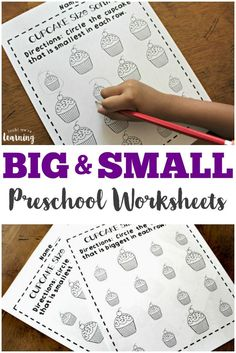 These cute cupcake big and small worksheets for preschool are a fun way to teach little ones about big and small sizes! via @lookwerelearn