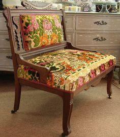 Antique Vintage Reclaimed Eastlake Victorian Parlor Settee Sofa w Vintage Italian Cherub Floral Tapestry Coverlet Upholstery. $395.00, via Etsy.