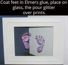 Framed glitter baby footprints