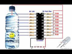Electrical Engineering Books: Awesome water Level Indicator with ULN 2803 Electronics Projects, Electronic Circuit Projects, Electronics Components, Electronics Gadgets, Electrical Engineering Books, Electronic Engineering, Chemical Engineering, Storing Water, Electronic Schematics
