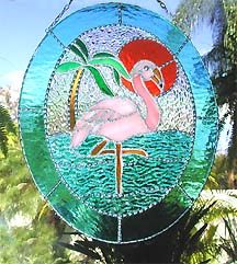 "Pink Flamingo Stained Glass Sun Catcher - 10"" x 12"" - $54.95"