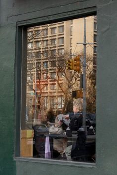 window reflection at SoHo coffee shop