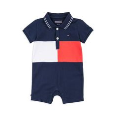 TOMMY HILFIGER Baby Boys Colour Block Flag Shortall - Navy Baby boys shortall • Stretchy cotton pique • Popper fastenings • Two button placket • Ribbed cuffs • Flag logo embroideryMaterial: 97% Cotton, 3% Elastane