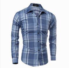 رجل الشيكات نمط يتأهل طوق طوق قمصان طويلة الأكمام بأكمام طويلة Camisas Manga  Larga 654c91e785a51