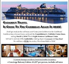 DEAL of the DAY: Join Gadabout's 5-Night Western Caribbean Group Cruise sailing on March 5, 2016 from Ft. Lauderdale! Stops will be made in #Cozumel and #KeyWest ! Pricing out at $1,037 per person. Price includes COMPLEMENTARY alcoholic & nonalcoholic beverage package, all gratuities, $200 On Board Credit, and dinner for two at a specialty restaurant. This offer expires Saturday, May 30, 2015. Contact us at 708-974-1300 for more information!    #travel #vacation #gadabouttravel #travelagency…