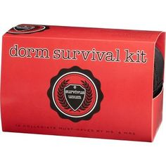 Dorm Survival Kit: Contains 12 must-haves: book light • caffeinated gum • eye mask • earplugs • first-aid supplies • thermometer • laundry bag • laundry instructions • mending kit • air freshener • screwdriver • poster adhesive.