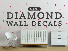 Mini Diamond Wall Decals, Geometric Wall Design, Customize Nursery and Interior Walls