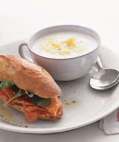 Cauliflower Soup With Prosciutto Sandwiches | In as little as 15 minutes, you can prepare a delicious, homemade meal in a bowl.