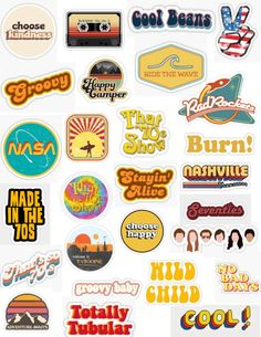 'Retro Stickers- Groovy stickers, hippie stickers' Sticker by Morgan M Tumblr Stickers, Phone Stickers, Cute Stickers, Macbook Stickers, Stickers And Decals, Happy Stickers, Aesthetic Stickers, Printable Stickers, Aesthetic Wallpapers
