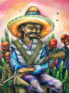 Reformation Bandito open edition art print by by bryancollins (Art & Collectibles, Prints, Digital Prints, mexican, sombrero, rifle, war, colorful, skeleton, mustache, lowbrow, prismacolor, drawing, guns, pop, surreal)