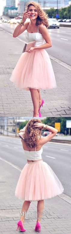 White Homecoming Dresses, Short Homecoming Dresses, Two Piece Pink Spaghetti-Strap Tulle Sleeveless White Top Homecoming Dresses White Homecoming Dresses, Two Piece Homecoming Dress, Prom Dresses 2018, Cheap Prom Dresses, Party Dresses, Pageant Dresses For Teens, Graduation Dresses, Prom Gowns, Dress Prom