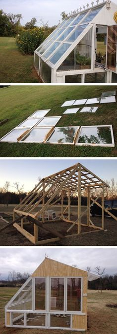 Build a stunning greenhouse from reclaimed windows Build a stunning greenhouse from reclaimed window Window Greenhouse, Build A Greenhouse, Greenhouse Gardening, Greenhouse Ideas, Shed Building Plans, Shed Plans, What Is A Conservatory, Garden Structures, Outdoor Structures