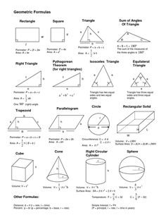 Geometrical formulas geometric formulas, geometric shapes, m Geometric Formulas, Geometric Shapes, Math Formula Chart, Algebra Formulas, Physics Formulas, Math Cheat Sheet, Gcse Math, Maths Solutions, Math Notes