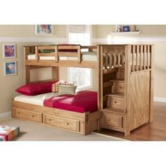 Perfect for kids teens and college students the Woody Creek Front Load Twin over Full Bunk Bed with Stairs adds space-saving sleep and storage space to your childs room. This unique stairway bunk bed is ideal for sleepovers or siblings sharing a room. Constructed of solid pine it has a warm caramel stain and protective lacquer finish that enhance any bedroom decor. Trim details on the drawer fronts add a touch of country charm to the design.  Fr