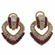 Oscar Heyman Classic Ruby Diamond Gold Earrings