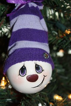 Hand Painted Pretty In Purple Light Bulb Ornament by TracysCrtns, $11.00