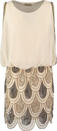 Lace & Beads SHARON ANGELA Sukienka koktajlowa cream