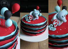 My husband's b'day cake - straight ruffles, balloons & an elephant. ;)