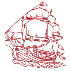 Maritime Redwork - BIG 2014 BASH | Machine Embroidery Designs set of 10 ships 1814