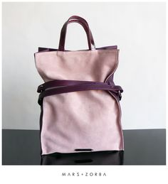 Apollonia Plum Tote #leather #handbags #plum #pink #softpink #tote #carteras #cuero #gamuza